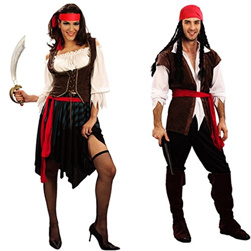 Labu Store Costume Adult Cosplay Fancy Dress Carnival captain pirates caribbean Halloween Cosplay Costume For Women Men by Labu Store
