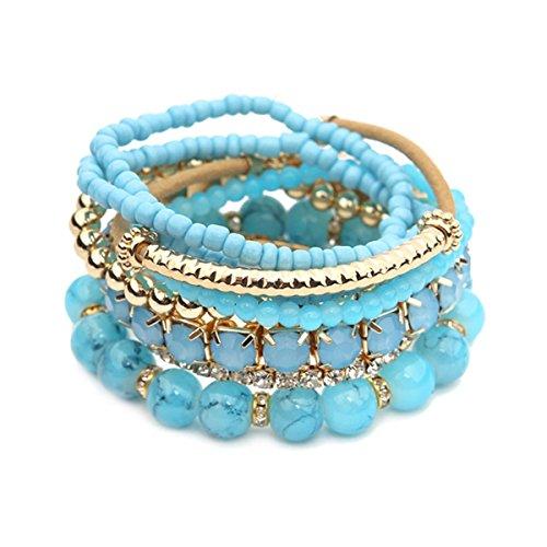 Riah Fashion Women's Multicolor Beaded Stretch Bracelet (Light Blue) -