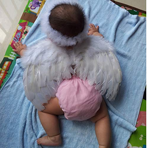 Halo Angel Wings - 6 18mo Angel Feather Wings Cupid Fairy Baby Photo Props Free Halo Party Costume Decoration - Dogd Angel Wings Blind Halo Party Decorations Angel Halo Fairy Feather Costum Ad -
