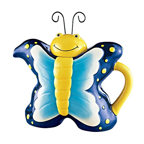 Unique Springtime Butterfly Teapot, Blue (Cute Teapot)