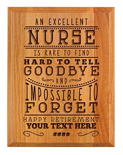 Personalized Retirement Plaque Excellent Nurse Retirement Gifts for Women Nurse Retirement Party 7x9 Oak Wood Custom Engraved Plaque Wood (Nurse Retirement Gift)