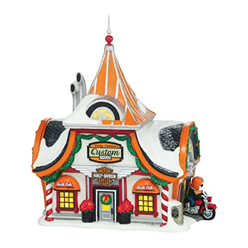 Department 56 North Pole Village Harley-Davidson Lit House, 12.6 (Harley Davidson Collectible Doll)