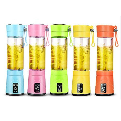 USB Juice Blender Cup by ABRAMZ Fruit Mixing Machine Portable Eletric Rechargeable Mixer Fruit Grinder with Water Bottle 420ml Multicolor