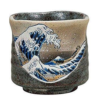 (Japanese Ceramic Porcelain kutani ware. Japanese teacup yunomi. Hokusai.
