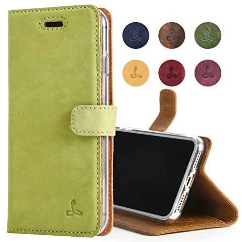 Snakehive Apple iPhone Xs Max Case, Luxury Genuine Leather Wallet with Viewing Stand and Card Slots, Flip Cover Gift Boxed and Handmade in Europe for Apple iPhone Xs MAX - (Moss Green)