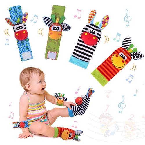 Baby Pols Rammelaars & Voetzoeker Set Zacht Dier Baby Rammelaars Speelgoed voor Meer dan 0 maanden Babyontwikkeling 4…