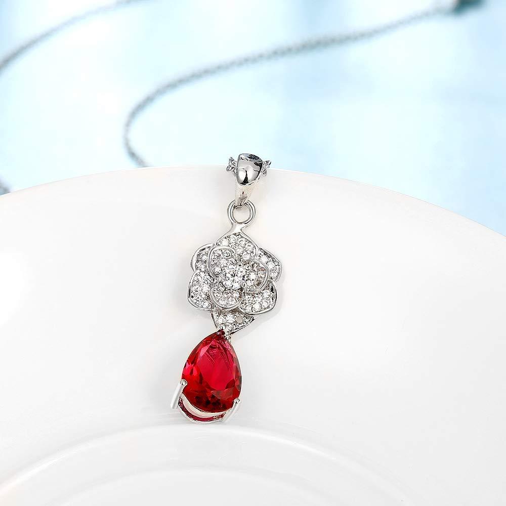 Women Zircon Pendant Flower Necklace (Color : Red)