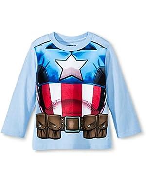 Marvel Captain America Toddler Boys' Long Sleeve Costume Tee