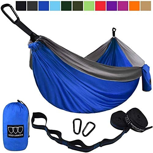 Gold Armour Camping Hammock – USA Brand Single Parachute Hammock 2 Tree Straps 32 Loops 20 ft Included Lightweight Nylon Portable Adult Kids Best Accessories Gear Blue Gray