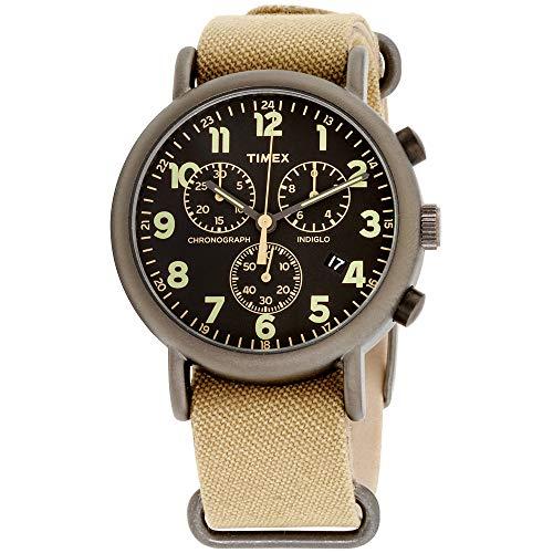 Mens Black Dial Strap Watch - Timex Weekender Chrono Oversized | Tan Nylon Strap Black Dial | Casual Watch