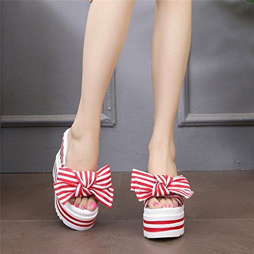 FLYRCX alti scarpette alla da spiaggia moda casual estate tacchi e a a farfalla spessa ladies rTqrOxf1wZ