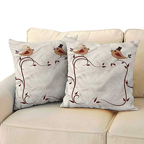 Godves Cushion Cases Pillowcases Animals Wedding Announcement Birds Resists Stains, Wrinkles 14