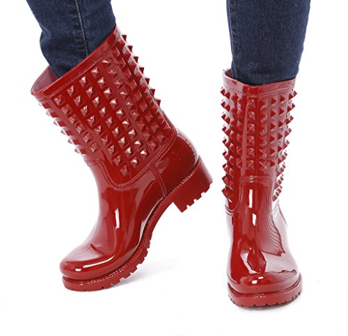 Slush & Rain Rubber Comfortable Boots with Studded Details on Shaft (Red 8) ()