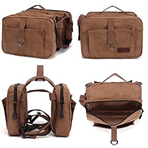 Kenox Canvas Dog Pack Commuter Rucksack Inspired Pack Pet Hound Travel Camping Hiking Medium Dog Bag