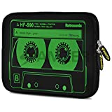 """Amzer 7.9-10.5"""" Designer Neoprene Sleeve Case for iPad/Tablet/e-Reader and Notebooks, Green Neon Cassette (AMZ5271105)"""