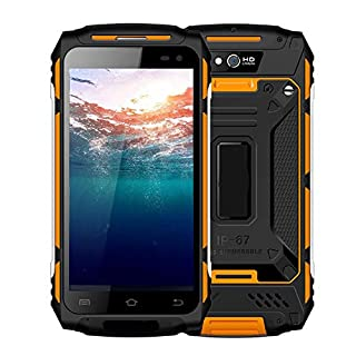 Rugged Cell Phone Unlocked, 4G LTE Guophone U006 IP67 Waterproof, Shockproof, Dustproof Smartphone, Android 6.0, 2GB+16GB, 5500mAh, Dual Camera 2MP+8MP, Fingerprint Unlocked,Orange(US)