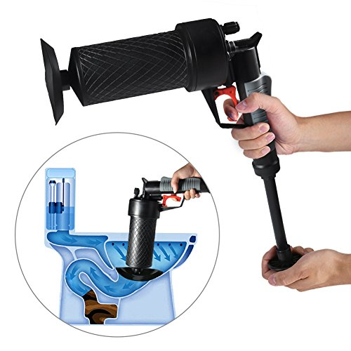 Toilet Plunger - Delaman Air Power Drain Blaster, Pipe Cleaner, Drain Opener, 4 Different Sized Suckers for Clogged, Bathroom Toilet, Bathtub, Washer (Pressurized Air Gun)