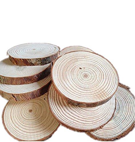 Fonder Mols Pack Of 30 Unpainted Natural Round Blank Wood Slices Discs For Diy Crafts Wedding Centerpieces  7Cm  9Cm