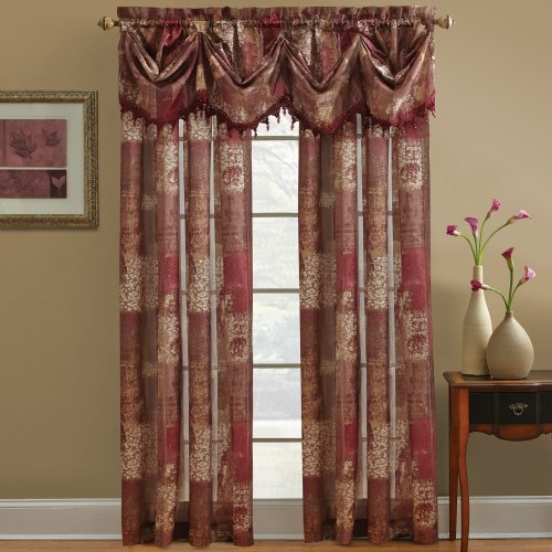 Chapel Hill by Croscill Madagascar Sheer Federal Valance, Burgundy