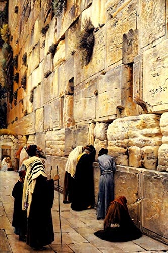 THE WAILING WALL JERUSALEM 1904 WESTERN WALL ORIENTALISM PAINTING BY GUSTAV BAUERNFEIND REPRO ON CANVAS