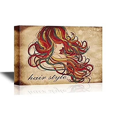 Hair Style Woman with Long Curly Hair Barber Shop Wall
