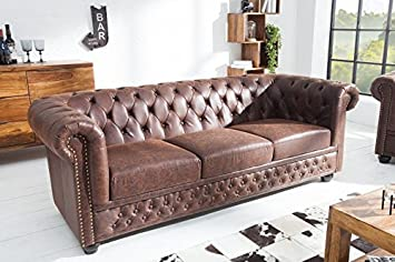 Casa-Padrino Chesterfield 3er Sofa Vintage Braun aus Dem ...