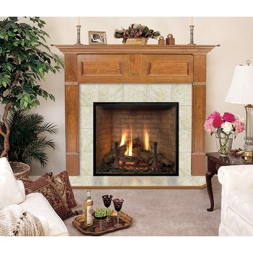 Wellington Rectangular Flush Fireplace Mantel in English Chestnut Finish (English Chestnut 40 in. x 48 in.) by Hearth and Home Mantels