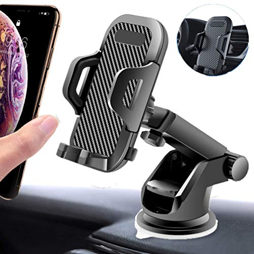 Phone Holder for car,Hands Free Car Phone Mount,Universal Dashboard & Windshield & Air Vent Cell Phone Car Mount, One-Touch Design,Long Neck,Fit for iPhone Xs Max/XR/X/8 Plus,Samsung S10/S9 (Best Car Dashboard Design)