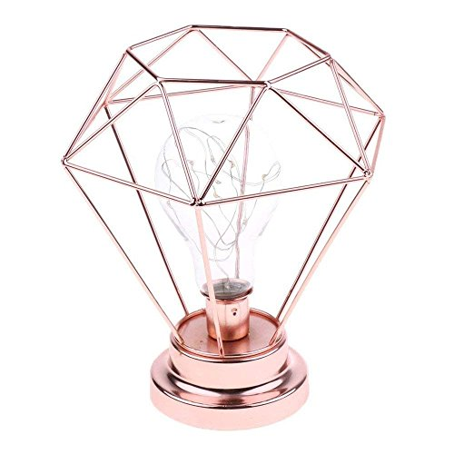 Diamond Table Lamp,WONFAST Copper Metal Basket Cage Creative Geometry Style Bulb Desk Decoration Light Bedside Lamp Night Light for Bedroom Living Room Kids Room (Rose Gold) ()