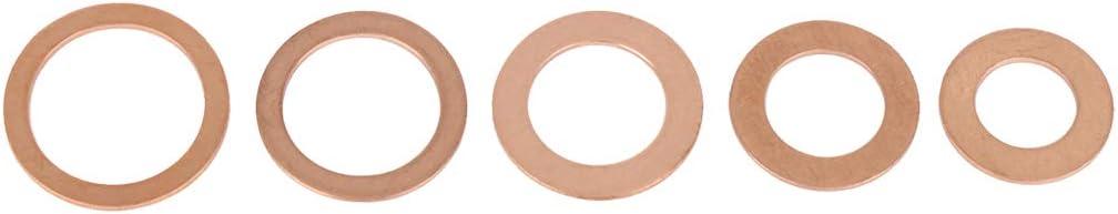 X AUTOHAUX 5 Sizes Copper Automotive Oil Drain Bolt Plug Gasket Washers Kit