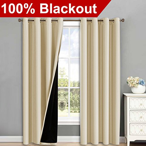 Thermal Insulated 100% Blackout Curtains - NICETOWN Multi-function Noise Reducing Performance Grommet Drapes with black lining, Full Light Blocking Drapery Panels for Patio (Beige, 1 Pair, 52