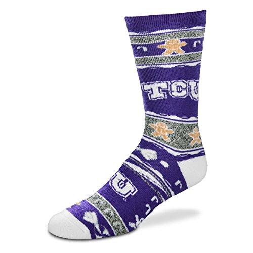 For Bare Feet NCAA Ugly Christmas Holiday Socks-TCU Horned Frogs-Purple-Large