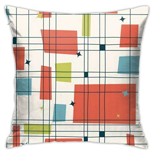 Abstract Mid Century Modern Grid Pillows Case Soft Throw Pillow Double-Sided Digital Printing Couch Pillowcase Square…