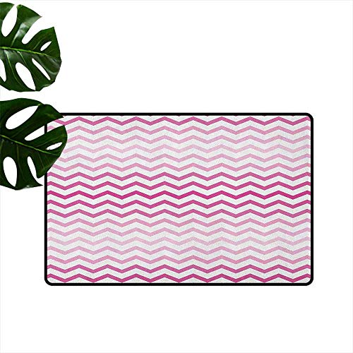 RenteriaDecor Light Pink,Kitchen Floor mats Chevron Zigzag Pattern with Twisted Parallel Lines in Vibrant Tones Graphic 31