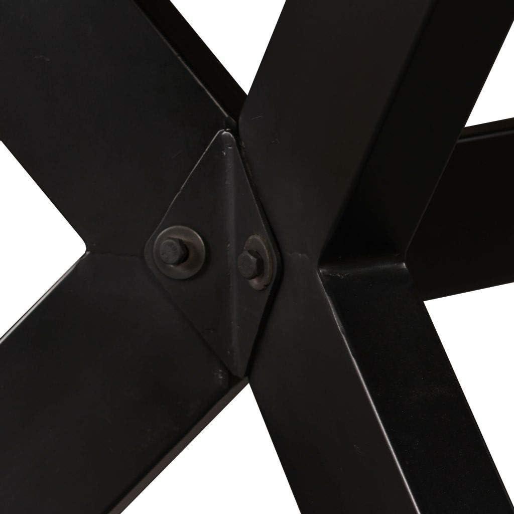 244805 Tidyard Tavolo da Pranzo in Legno Massello di Mango Ruvido e Acciaio a Croce 180 x 90 x 76 cm