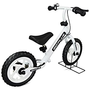 """Goplus 12"""" Kids Balance Bike Children Learn To Ride with Brakes Bell and Folding Stand for Boys & Girls (White)"""