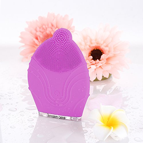 KINGDOMCARES Silicone Facial Cleansing Brush Cleaning Pores Clear Blackheads Acne Remover Waterproof Massager Face Cleaner Sonic Vibrating Rechargeable Electric Skin Care Face Polish Scrub Peel Purple