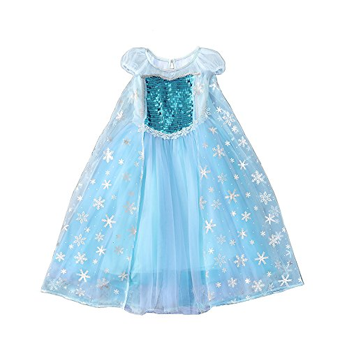 SIZANI Snow Queen Princess Elsa Costumes Princess Dress Up, Party Cosplay Costume Queen Dresses for Little Girls 2-12T