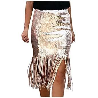 Vectry Faldas Mujer Casual Lentejuelas Cintura Alta Fringe Falda ...