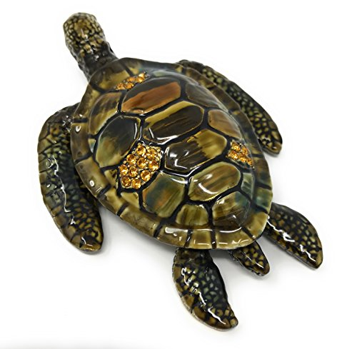 Austrian Crystal Jewelry Trinket Box (Enameled Sea Turtle Trinket Box by Kubla Craft, Accented with Austrian Crystals, 4.5L)