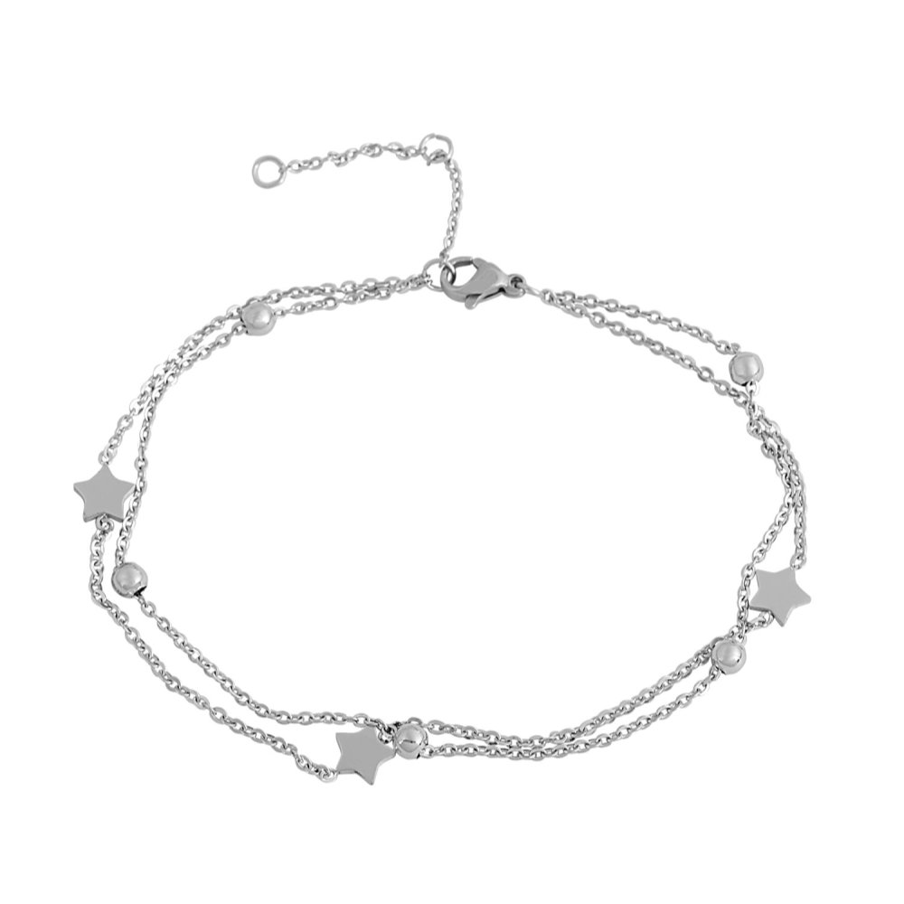 Edforce Stainless Steel Double Chain 3 Star Pendant and 5 Ball Pendant Anklet, 8.5''+ 2'' Extender