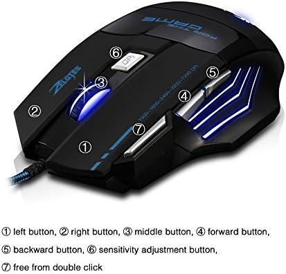 AFUNTA Zelotes Ergonomic 7200 DPI LED Optical Wired Gaming Mouse Mice 7 Buttons Compatible Mac Pro Gamer PC Laptop Desktop Notebook-Black Black(T80) 51EUK3Ji 2BkL