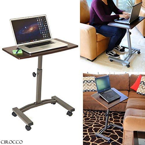 CIROCCO高さ調節可能なローリングラップトップノートパソコンデスクカートSwivelサーフェスLiftingコンピュータテーブルスタンドW /ホイールブラウン|ポータブルモバイルオフィスoverベッド病院リビングルームソファReading朝食