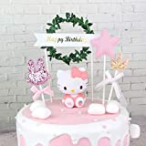 MONLIYA Cake Decoration Topper Cute Hello Kitty Accessories Cake Dessert Ornament for Birthday Baby Shower Wedding Christmas Home Party Anniversary Decor