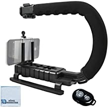 Professional Video Stabilizing Grip + eCostConnection Universal Tripod Smartphone Mount fits Virtually All Phones and Wireless Remote for All Smartphones + Microfiber Cloth