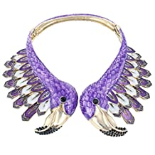 Ever Faith Vintage Style 2 Orange Flamingo Statement Choker Necklace Austrian Crystal Gold-Tone N04098-1