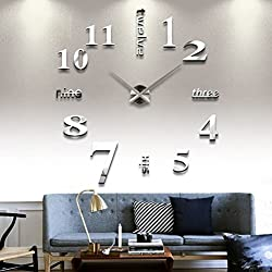 Elikeable Modern 3D Frameless Large Wall Clock Style Watches Hours DIY Room Home Decorations (Silver1)