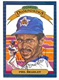 Autograph Warehouse 34814 Phil Bradley Autographed Diamond King Donruss Baseball Card 1986 Seattle Mariner Ball Point Pen