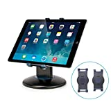 AIDATA Desktop/Tabletop Adjustable Tablet Stand - 360 Rotating, Retail Kiosk iPad Stand with Swivel Design for Store POS (with 2 Bracket)