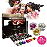 HiLytz Hair Chalk and Face Paint Set 10 Temporary Hair Colour Kids, Adults Perfect for Party, Prime Halloween Birthday